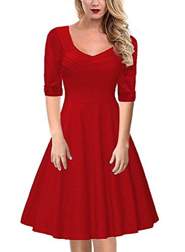 Gigileer 50er Rockabilly Kleid / Rotes Cocktailkleid