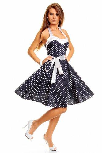 Neckholder Rockabilly Kleid 50er Jahre mit Pünktchen BLAU