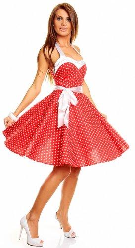 Neckholder Rockabilly Kleid 50er Jahre mit Pünktchen, ROT