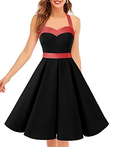 7ca6661dc1adf2 ᐅ Neckholder Kleid Schwarz im Rockabilly 50er Jahre Vintage Stil