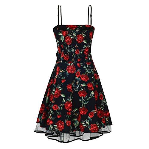 Laeticia Dreams Damen Kleid Rockabilly Blumenmuster S M L XL, Farbe:Schwarz Blumenmuster Rot;Größe:40 -