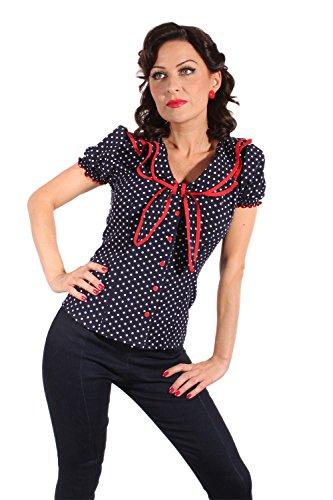 retro Style Polka Dots Rockabilly Puffärmel Schleife retro Shirt Bluse
