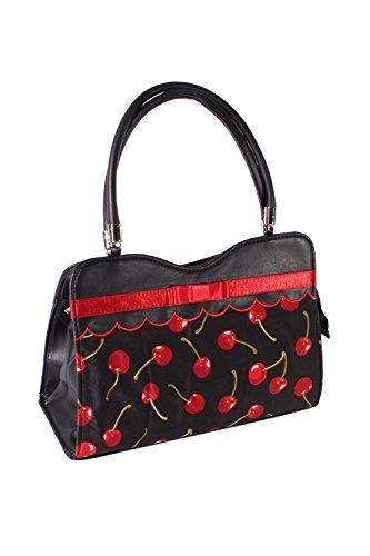 SugarShock Damen 50s retro rockabilly Kirschen Schleifen Tasche BOW Cherry Handtasche