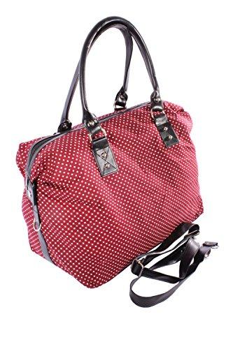 4f4fb2a2d8eb2 ᐅ Polka Dots rockabilly Punkte Weekender Shopper Handtasche weinrot
