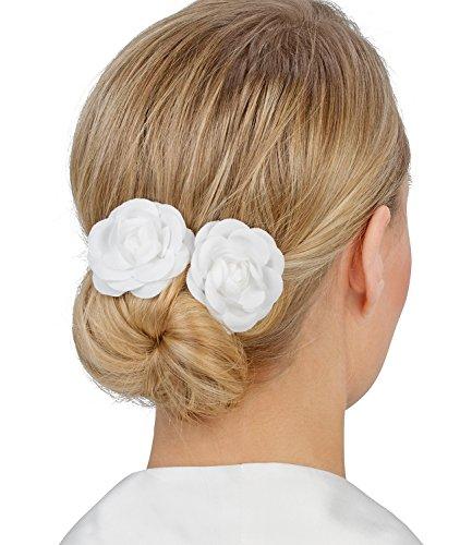 """SIX """"Hochzeit"""" 2er Set Haarspangen mit Stoff-Rosen, Blüten in Weiß, Brautschmuck (329-591)"""