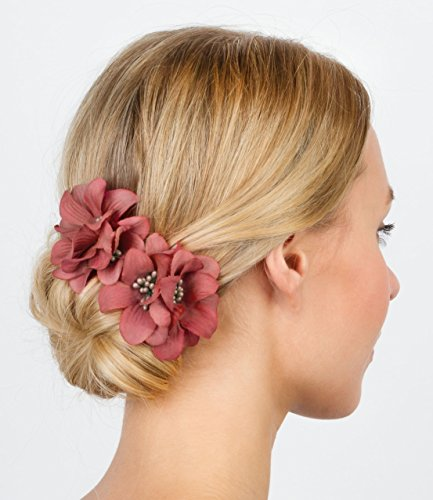 """SIX """"Blumen"""" 2er Set Blüten Blumen Haarspangen, Stoff Ansteckblume in dunklem Rot Rose, Dutt, Frisur (329-701)"""