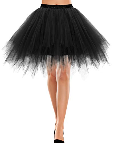 Bbonlinedress Kurz Retro Petticoat Rock Ballett Blase 50er Tutu Unterrock Black L