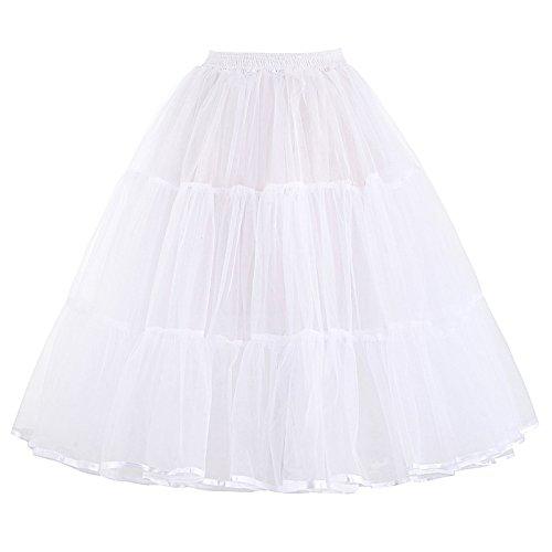 50s Retro Underskirt Unterrock Petticoat Rock Rockabilly Tutu Skirt Weiss S BP177-2