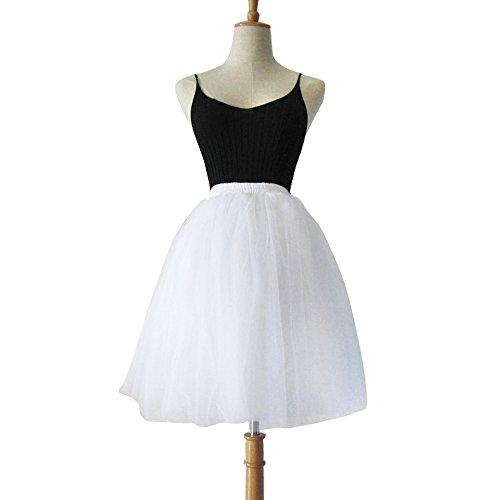 Damen Tüll rock tutu Tüllrock Unterrock Petticoat Knielang Falten Rock Tutu Organza weiß -