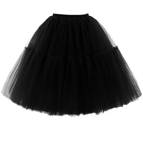 Omela Tüllrock Damen Vintage Tutu Rock Tanzrock Unterrock Petticoat Prinzessin Rock (Schwarz,66-100)