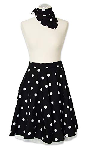 Tellerrock mit Halstuch Schwarz Weiß Gr. M -