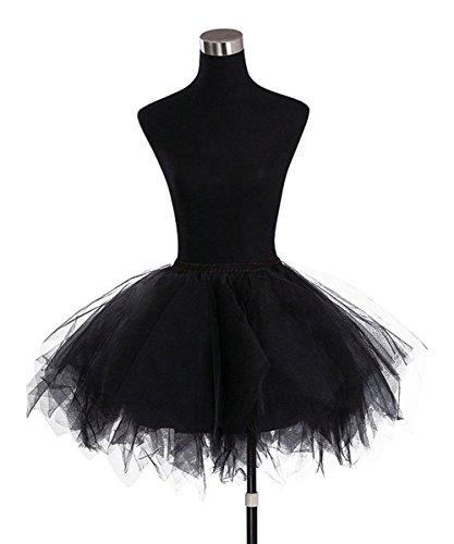 Find Dress Tüllrock Petticoat Unterrock tutu Reifrock kleid 50er Hochzeit Vintage Prinzessin schwarz und weiß für Rockabilly kleider Faltenrock 50s Rockabilly ballkleider FD10001Rot L-XL - 5