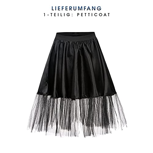Kostümplanet® Petticoat schwarz mit Gummiband und Tüll Tutu Petti Coat Unterrock schwarzer Petticoat - 2