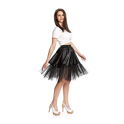 Kostümplanet® Petticoat schwarz mit Gummiband und Tüll Tutu Petti Coat Unterrock schwarzer Petticoat - 5