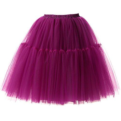 Izanoy Damen Vintage Tüllrock 5 Lage Prinzessin Falten Rock Tutu Petticoat Ballettrock Unterrock Pettiskirt Lila One Size/Einheitsgröße