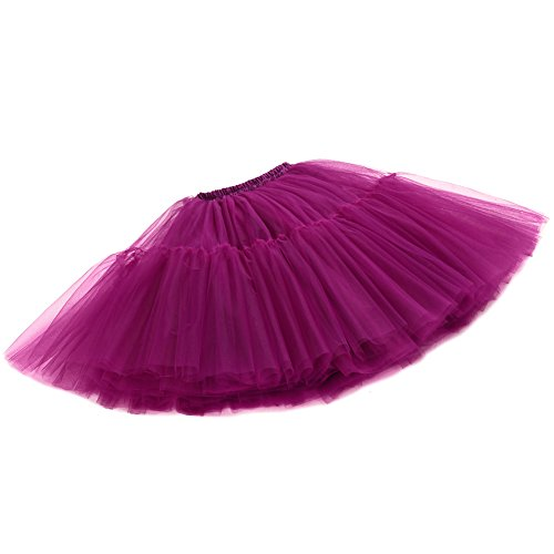 Izanoy Damen Vintage Tüllrock 5 Lage Prinzessin Falten Rock Tutu Petticoat Ballettrock Unterrock Pettiskirt Lila One Size/Einheitsgröße - 4