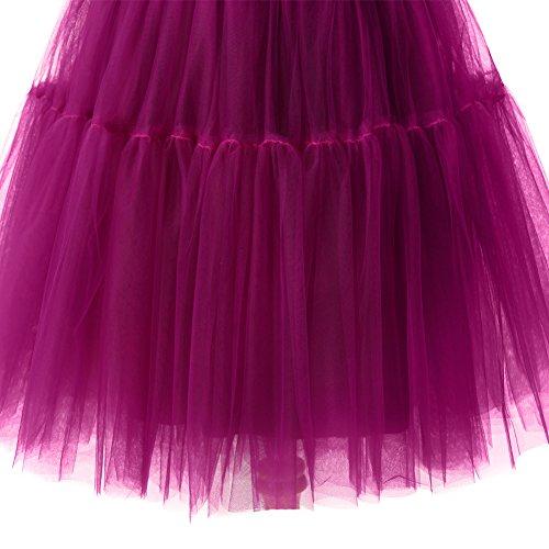 Izanoy Damen Vintage Tüllrock 5 Lage Prinzessin Falten Rock Tutu Petticoat Ballettrock Unterrock Pettiskirt Lila One Size/Einheitsgröße - 3