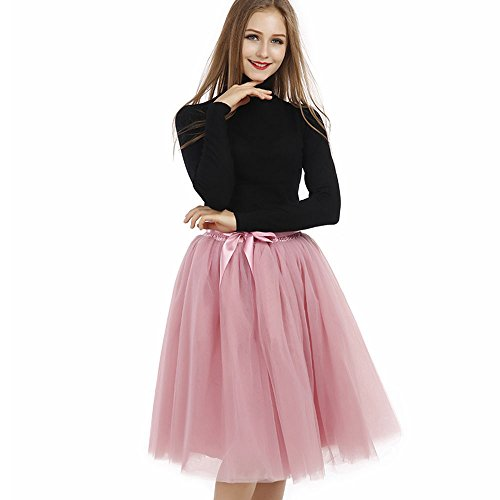 Tyhbelle Damen 7 Layer lang Tutu Tüll Röcke Gefalteter mit Gummizug Lolita Petticoat Tuturock (Mauverot)