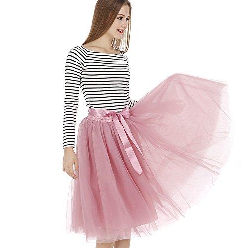 Tyhbelle Damen 7 Layer lang Tutu Tüll Röcke Gefalteter mit Gummizug Lolita Petticoat Tuturock (Mauverot) - 4