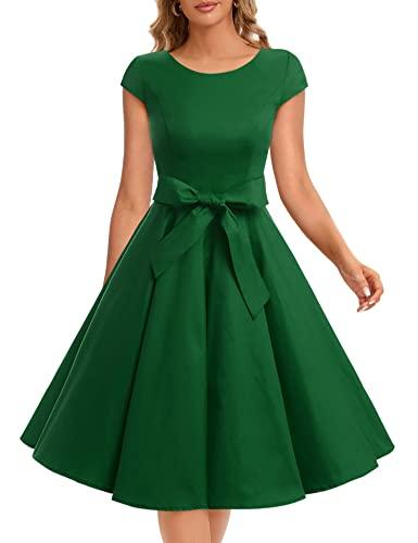 Dressystar Damen Vintage 50er Cap Sleeves Dot Einfarbig Rockabilly Swing Kleider S Armeegrün