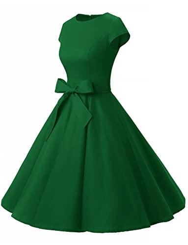 c443ccd5a2aa42 Dressystar Damen Vintage 50er Cap Sleeves Dot Einfarbig Rockabilly Swing  Kleider S Armeegrün - 2