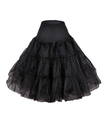 Flora 50s Vintage Rockabilly Petticoat Skirt, 25″ Length Net Underskirt (EU 42-50 (L-XXL), schwarz) - 2