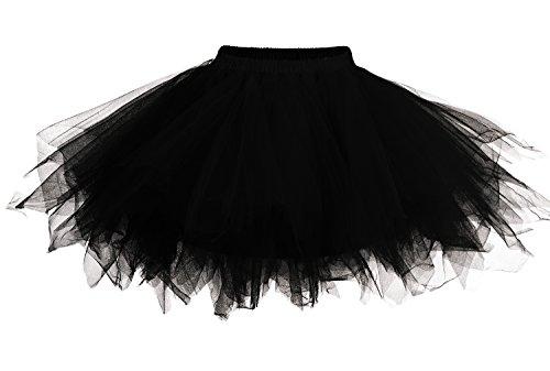 DJT Damen 50er Retro Rockabilly Swing Petticoat Ballett Tutu Unterrock Schwarz S