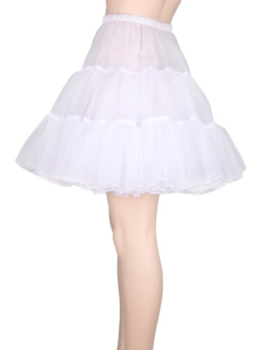 "Flora 50s Rock n Roll Hoopless Short Skirt/Fancy Tutu Petticoat,18"" Length (EU 32-40 (XS-M), weir)"