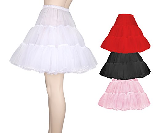 Flora 50s Rock n Roll Hoopless Short Skirt/Fancy Tutu Petticoat,18″ Length (EU 32-40 (XS-M), weir) - 2