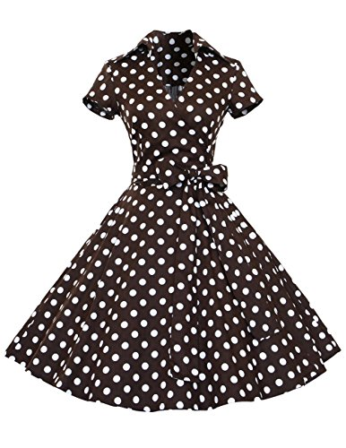 Dresstells Rockabilly Kleid 1950er Retro Polka Dots Kurz Faltenrock Petticoat Cocktailkleid Chocolate Dot XL