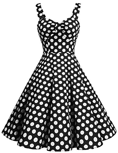 Dresstells Schultergurt 1950er Retro Schwingen Pinup Rockabilly Kleid Faltenrock Black White Dot XL