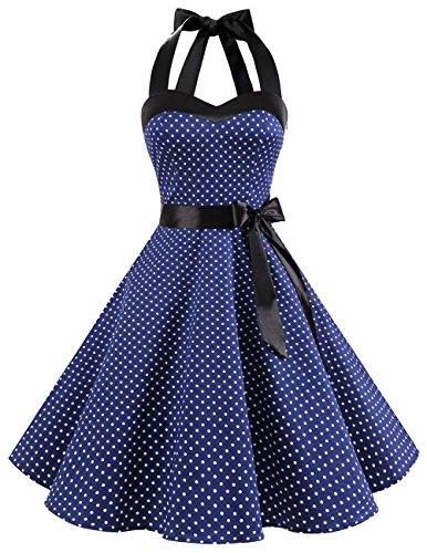Dresstells Neckholder Rockabilly 50er Polka Dots Punkte 1950er Kleid Petticoat Faltenrock Navy White Dot S