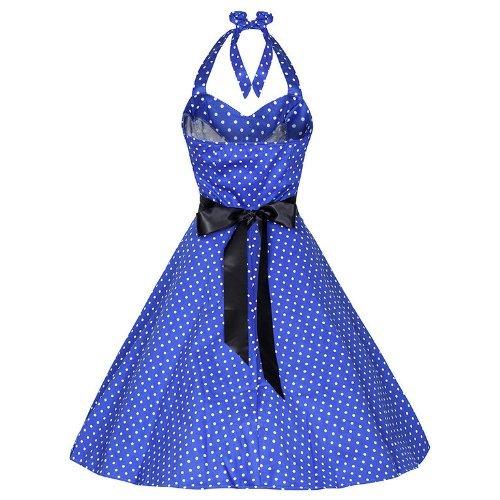 Pretty Kitty Fashion 50s Polka Dot Blau Weiss Neckholder Cocktail Kleid M (12) - 2