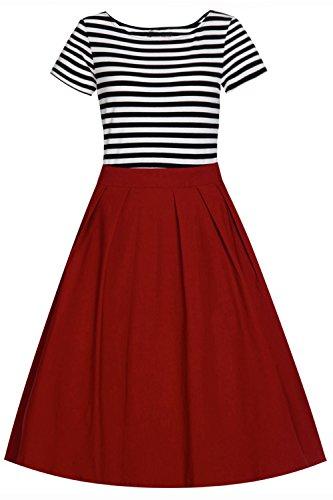 e0f7d175afe Babyonline- Damen Vintage 50er Rockabilly Swing Audrey Hepburn Kleid  Knielang Weinrot XL