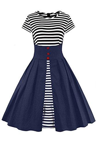 Babyonline- Damen Vintage 50er Rockabilly Swing Audrey Hepburn Kleid Knielang Navy Blau XL