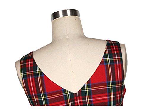 VKStar® Vintage Damen 1950s Audrey Hepburn britische Art Schwing Retro Rockabilly Plaid Abend-Partykleid Schleife - 5
