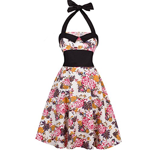 Loverher Damen 50s Retro Vintage Neckholder Kleid Knielang Rockabilly Kleid