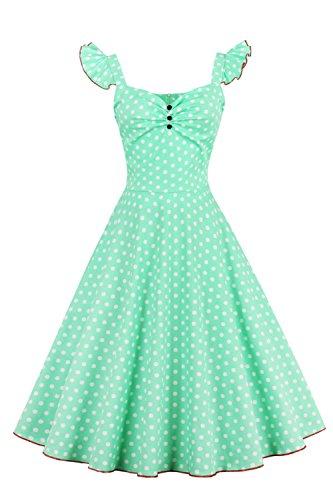470d5917a0215d Babyonline - Damen 50er, 60er Vintage Kleid Petticoat Polka Dots Knielang  Grün