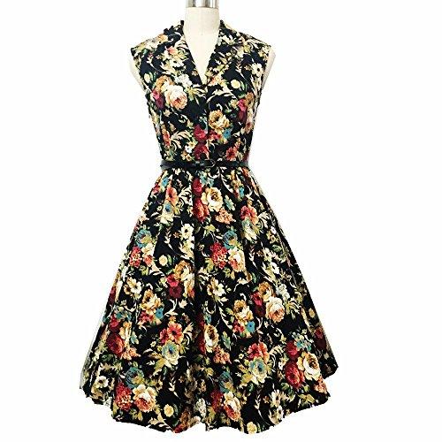 Possec Damen Kleider Vintage Baumwolle Flared Ärmellos Rose Blume Rock Kleid