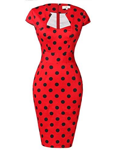 50er Jahre Kleid Vntage & Rockabilly Stil knielang kurzarm Polka Dot Kleid ~ rot