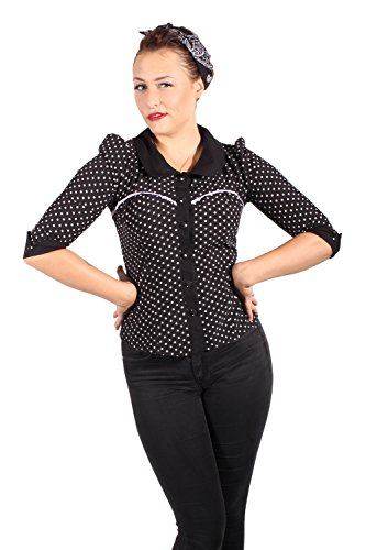 Fifties Polka Dots Rockabilly Puffarm Bubikragen Punkte 3/4arm Bluse S
