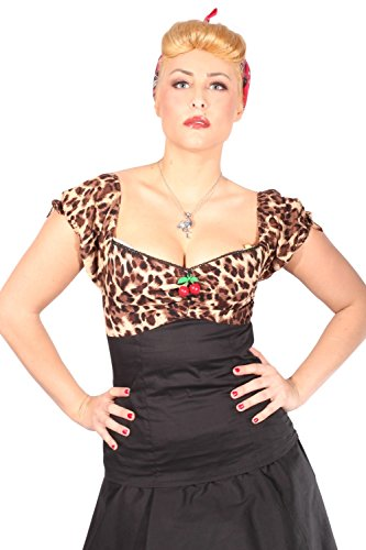 Leoparden Rockabilly pin up Leo Cherry Puffärmel Kirschen Carmen Shirt TOP