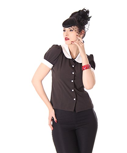SugarShock Iffi 50er retro Bubikragen French Maid Rockabilly Puffärmel Bluse