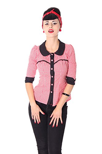 SugarShock Raquel Rockabilly 50er Pin Up retro Gingham 3/4 Arm Bluse kariert