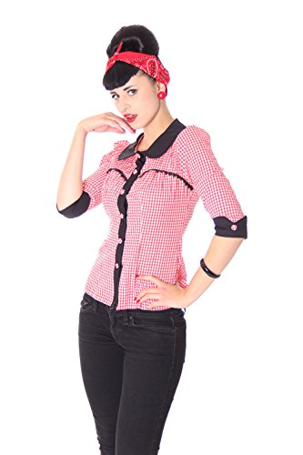 SugarShock Raquel Rockabilly 50er Pin Up retro Polka Dots 3//4 Arm Bluse