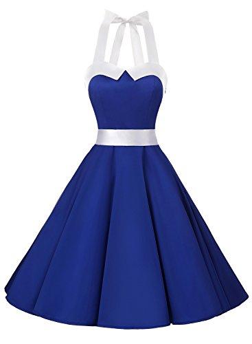Dressystar Vintage Tupfen Retro Cocktail Abschlussball Kleider 50er 60er Rockabilly Neckholder Royal Blau mit Weiß S