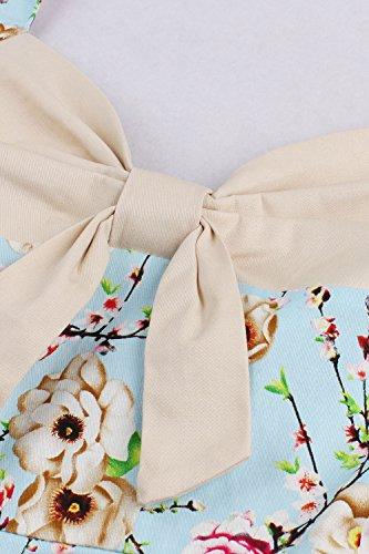 Babyonline- Damen 60er Jahre Vintage Faltenrock Abendkleid Blumen Knielang Blau M -