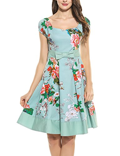 EUALL Damen Vintage Elegant Kleid Cocktailkleid V-Ausschnitt A-Linie Rockabilly Patchwork Saum