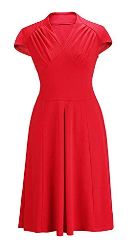 Smile YKK klassisches Design Damen Kurze Aermel Skaterkleid Cocktailkleid Party Kleid M Rot