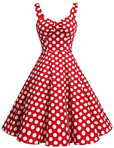 Dresstells Schultergurt 1950er Retro Schwingen Pinup Rockabilly Kleid Faltenrock Red White Dot L